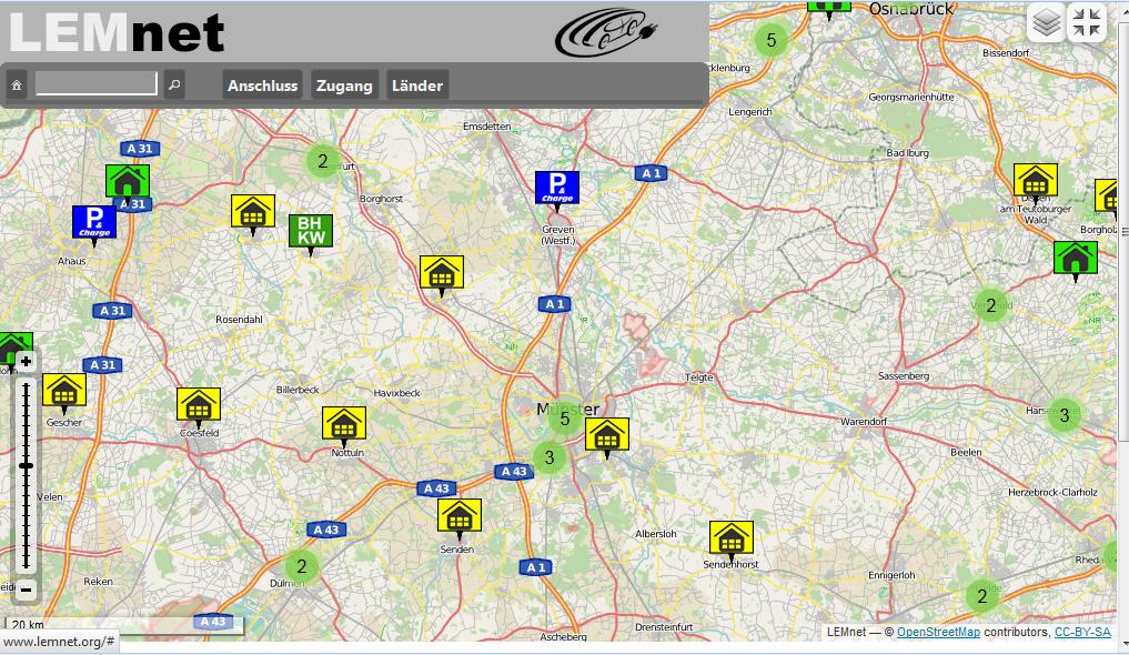 Stromstellen in der Karte von LEMnet