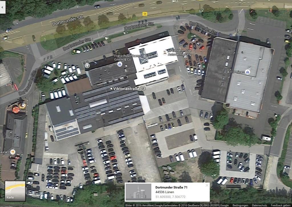 In Lünen baute Rüschkamp die erste große PV-Anlage auf das Betriebsgebäude.