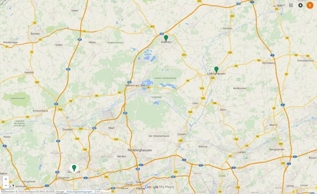 Die Karte von Google (c) e-map 2016, die Begeisterung der Kommunen hält sich noch in Grenzen